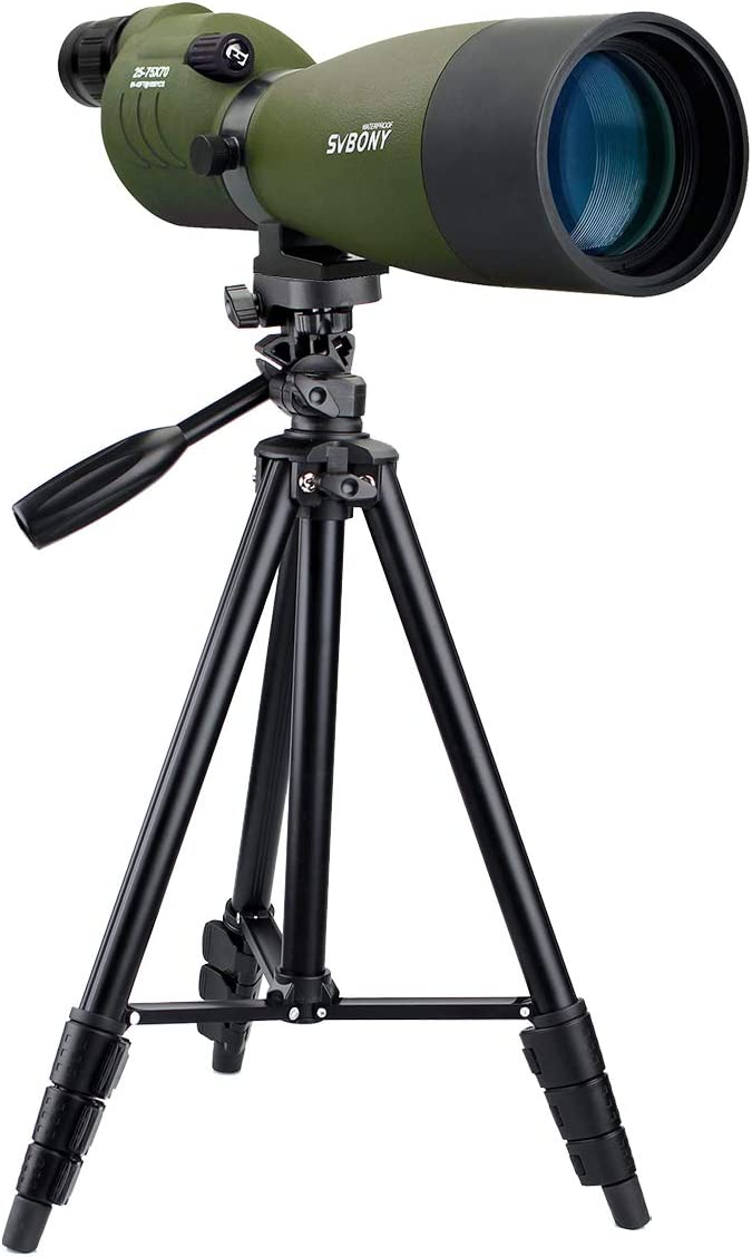 SVBONY SV17 Spotting Scope Straight Waterproof 25-75x70mm Zoom Telescope Bak4 for Bird Watching Target Shooting Archery Range with Soft Case
