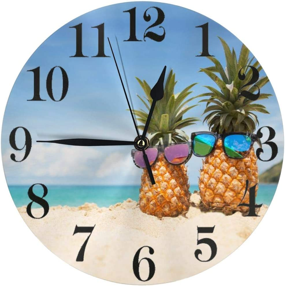 Abucaky Tropical Pineapple Sea Beach Wall Clock Battery Operated Silent Non Ticking Round Clock Summer Theme Art Wall Decor for Home, Office, School 9.8 Inch