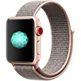 Nylon Sport Band for Apple Watch 44mm 42mm, Soft Replacement Strap for iWatch Series 4/3/2/1 (Pink Sand)
