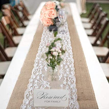 5bb9bda819a Image Unavailable. Image not available for. Color  boyspringg 12X108 Pack  of 10 Lace Table Runners Vintage Embroidered Rustic Romantic Wedding Decor  ...