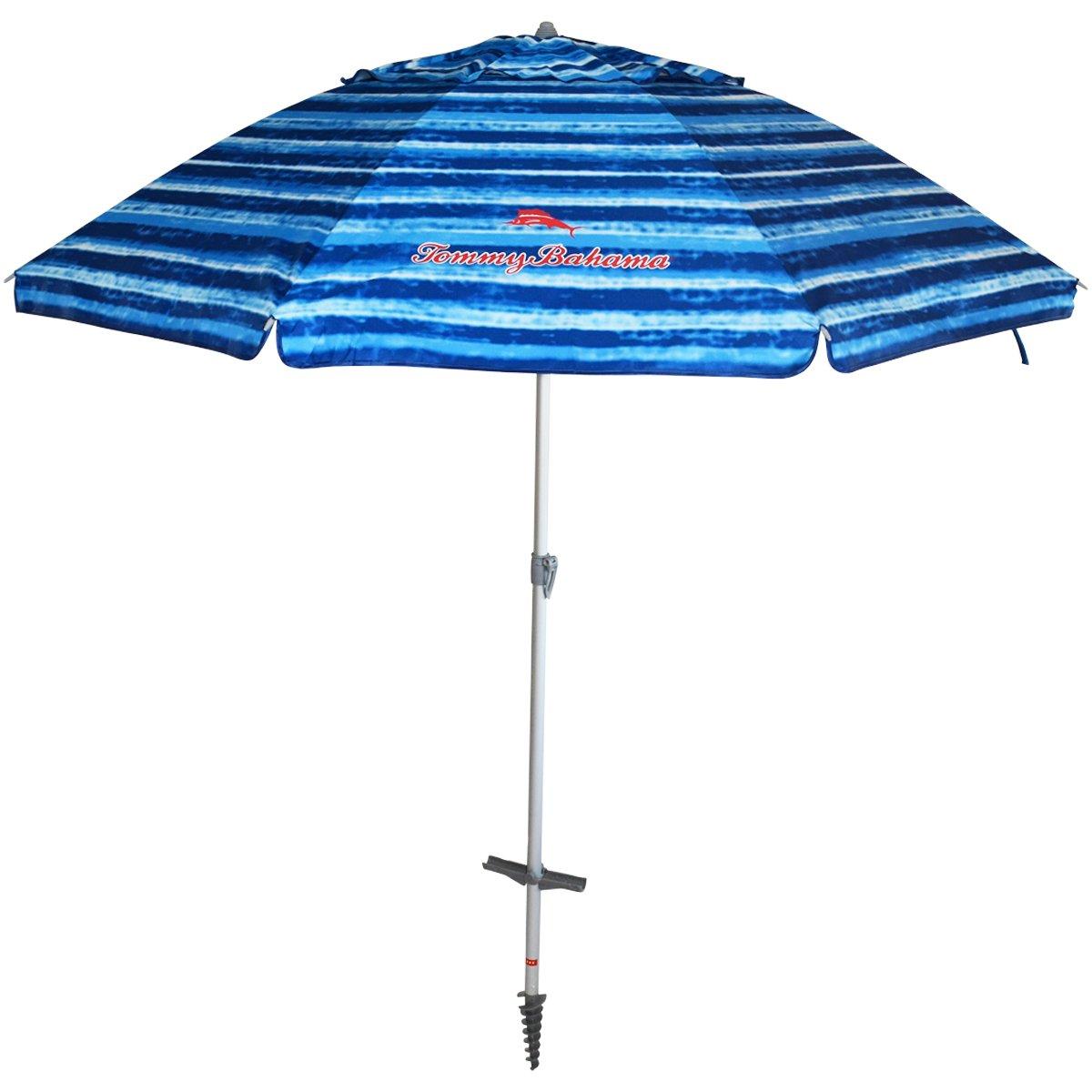 Tommy Bahama Sand Anchor 7 feet Beach Umbrella with Tilt and Telescoping Pole Blue White