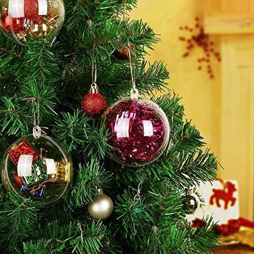 Kranich 20 x Bolas de Navidad Forma Redonda Plástico Transparente para Decorar el arbol de Navidad (8cm) no Incluye Cuerda