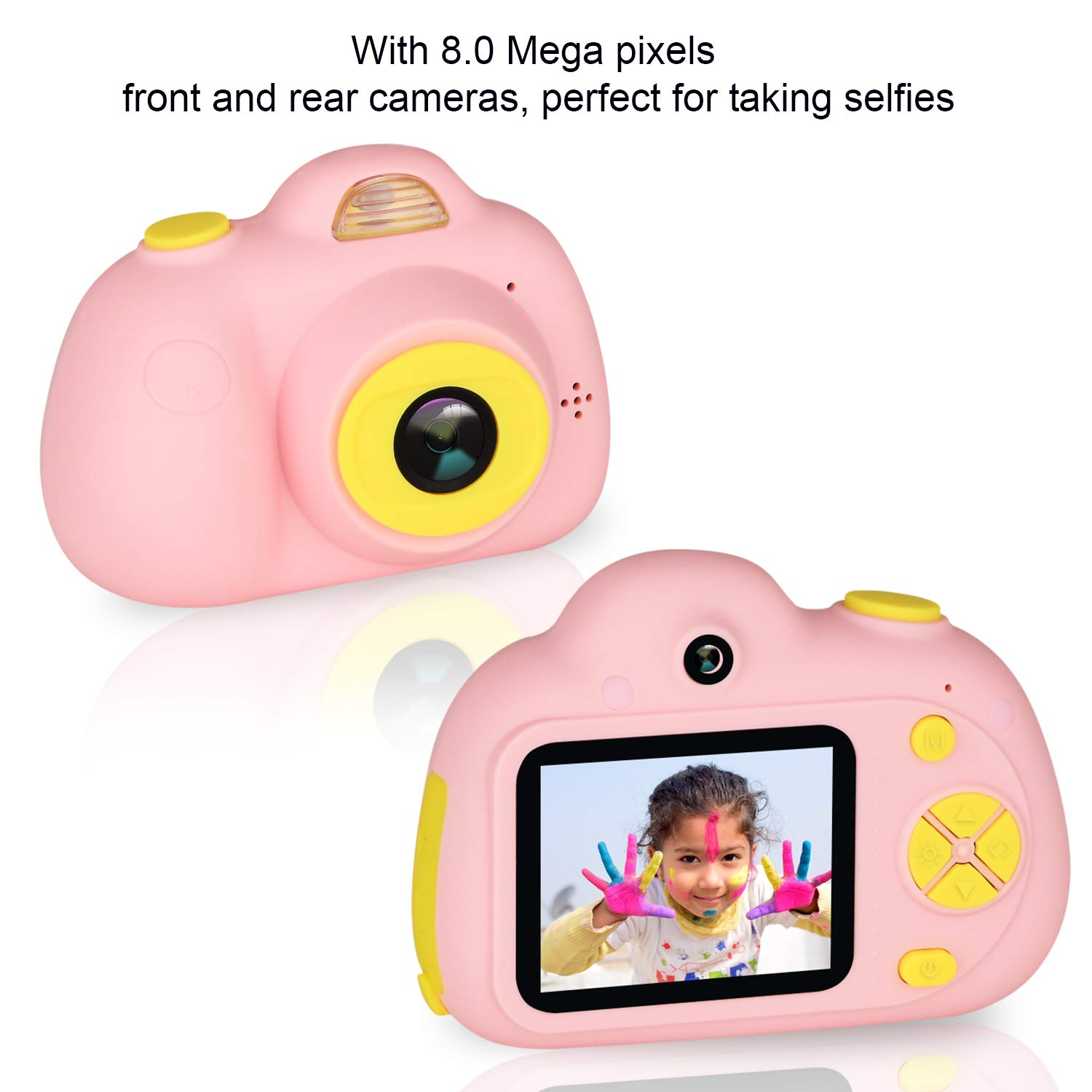 eyesen Kids Camera for 3-10 Year Old Children 1080P HD Rechargeable Digital Child Camcorder Shockproof Selfie Mini Camera with Soft Silicone Shell and 2 Inch Screen for Kids, Pink by eyesen (Image #3)