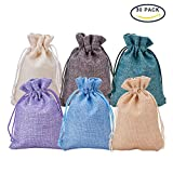 BENECREAT 30Pack 6 Color Burlap Bags with Drawstring Gift Bags Jewelry Pouch for Wedding Party and DIY Craft, 4.5 x 3.7 Inch