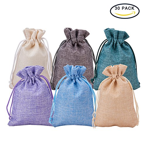 30Pack 6 Color Burlap Gift Bags with Drawstring, 4.5 x 3.7