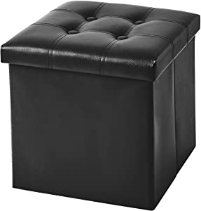 YOUDENOVA 15 inches Folding Storage Ottoman, Cube Storage Boxes Footrest Stool, Small Ottomans with Foam Padded Seat, Support 350lbs, Faux Leather Black