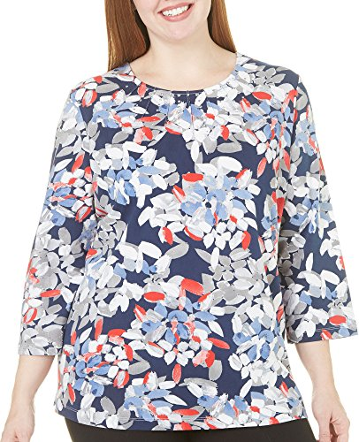 Alfred Dunner Plus Uptown Girl Abstract Leaf Top 3X Blue/red/white