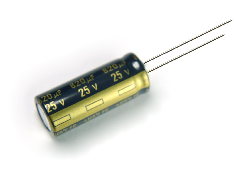 820uf 25v electrolytic capacitor 105 ° 13x17 lot of 5 pcs