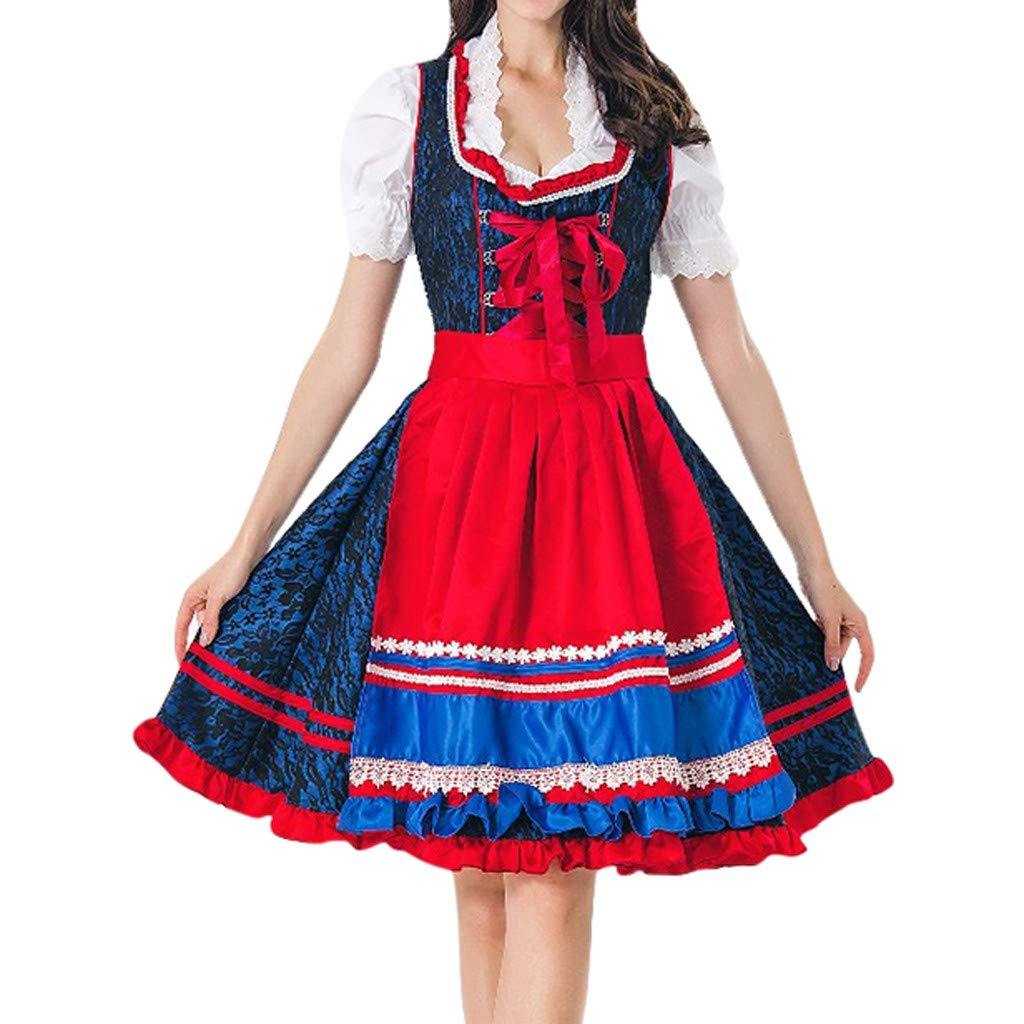Sttech1 Women 3 Pieces Vintage Dress Short Sleeve Square Collar Bavarian Beer Festival Cosplay Costumes Dress Apron+Top Red