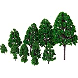 12pcs 1.2 inch - 6.3 inch Green Train Set Scenery Landscape Model Tree Scale 1/50