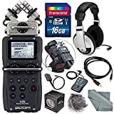Zoom H5 Handy Recorder with Interchangeable Microphone System Including Samson Stereo Headphones and Deluxe Accessory Bundle