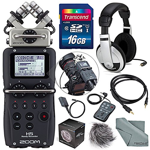 Zoom H5 Handy Recorder with Interchangeable Microphone System Including Samson Stereo Headphones and Deluxe Accessory Bundle from Zoom