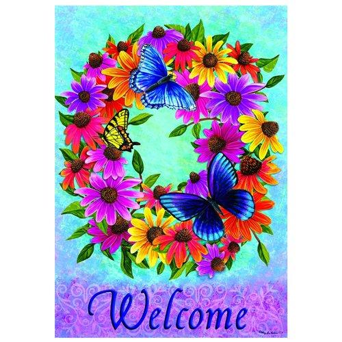 Custom Decor Butterfly Wreath - Summer - STANDARD Size, Decorative Double Sided Flag, Multi, House - 28