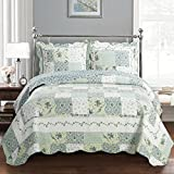 Oversized Quilts for Queen Beds Deluxe Brea Oversized Bedspread. Beautiful quilt is decorated with patches of various floral designs. Creates the relaxing ambience of a resort in your bedroom. Bed Cover Quilt 3 Pieces Queen Set