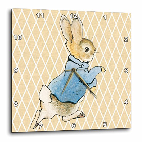 3dRose dpp_79399_2 Peter Rabbit Vintage Art Animals Wall Clock, 13 by 13-Inch