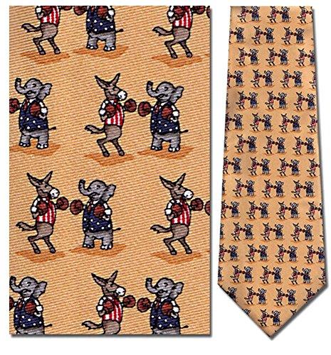 Mens 100% Silk Yellow Gold Political Elephant & Donkey Boxing Necktie Tie Neckwear