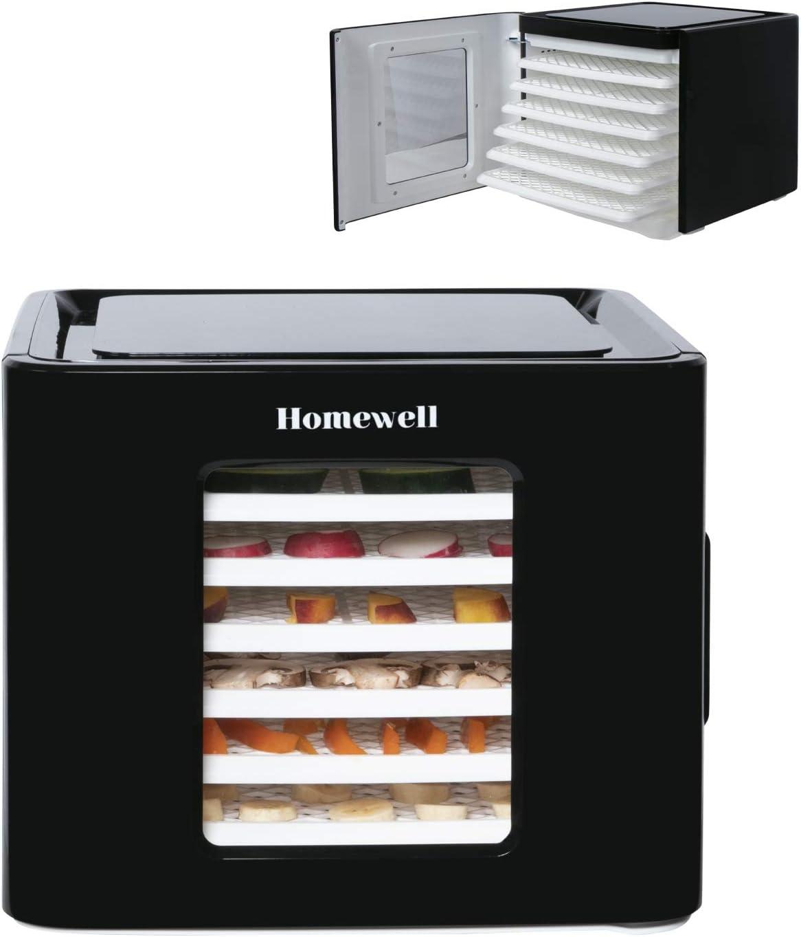 Homewell Food Dehydrator Machine Dryer for Fruits & Vegetables, Adjustable Timer, Digital Temperature Control, 6 Trays Slide-in, 400 Watt