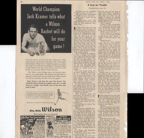 Wilson Tennis Rackets World Champion Jack Kramer Tells What A Wilson Racket Will Do For Your Game! 1957 Vintage Antique Advertisement (Champion Tennis Racquet)