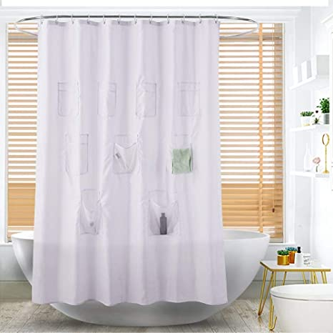 GSLG Multi Functional Plain Polyester Chun Yafang Waterproof Pocket Shower Curtain Storage Curtains Hanging Bag