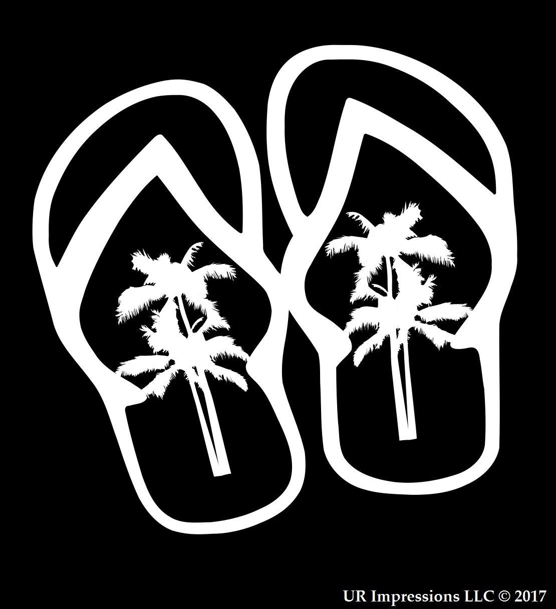 fdbbdb8025 Amazon.com  UR Impressions Palm Tree Flip Flops Sandals Decal Vinyl Sticker  Graphics for Cars Trucks SUV Vans Walls Windows Laptop