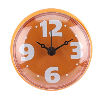 Reloj de Ducha Impermeable Diámetro de Cara Redonda 7cm Reloj con Ventosa Lectura Fácil Números Arábigos Digital Grandes Reloj de Baño(Orange): Amazon.es: ...