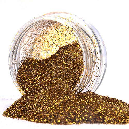 Gold Plate Fine Tree - Fine Dust Glitter Pot Nail Art Face Body Eye Shadow Craft Iridescent Cosmetic 1G (Colors - Gold)