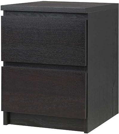 IKEA ASIA MALM Cajonera (2 cajones), Color Negro y marrón