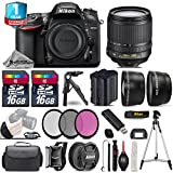 Holiday Saving Bundle for D7200 DSLR Camera + 18-105mm VR Lens + Backup Battery + 1yr Extended Warranty + 2 Of Ultra Fast 16GB Class 10 + Case + 0.43X Wide Angle Lens - International Version