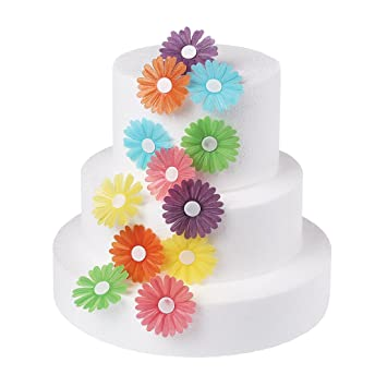 Georld 12pcs 2 Wafer Double Edible Flowers Cake Decorations