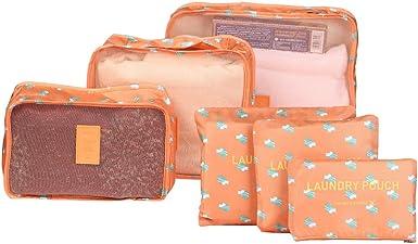 Storage Bag Travel Set of 7 Color : Orange Luggage Waterproof Packing Cube Set Travel Clothing Shoes Underwear Storage Finishing Set