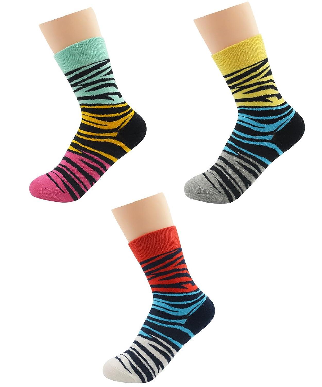 Zando Womens Casual Bright Rainbow Colored Stripes Unique Crew Mid Calf Socks
