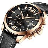 Sport Watches for Men Casual Chronograph Quartz Wrist Watch Black Leather Strap Waterproof Date Clock