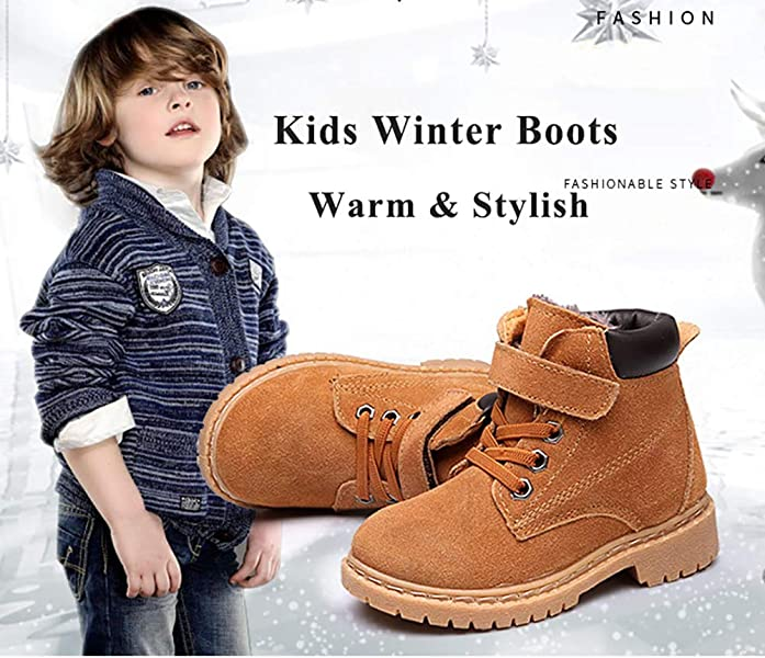 Boys Girls Waterproof Warm Leather Winter Boots Cold Weather Flat Bootie  Shoes(Toddler Little Kid). Back. Double-tap to zoom d4df873587ad