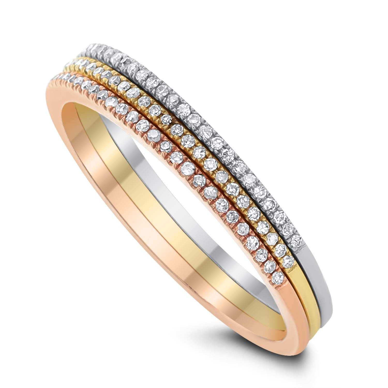 DIAMOND COUTURE 14K 0.25-Carat Diamond Tri-Tone Gold Set of 3 Rings, 14K White, Yellow and Rose gold, I-J Color, I1-I2 Clarity