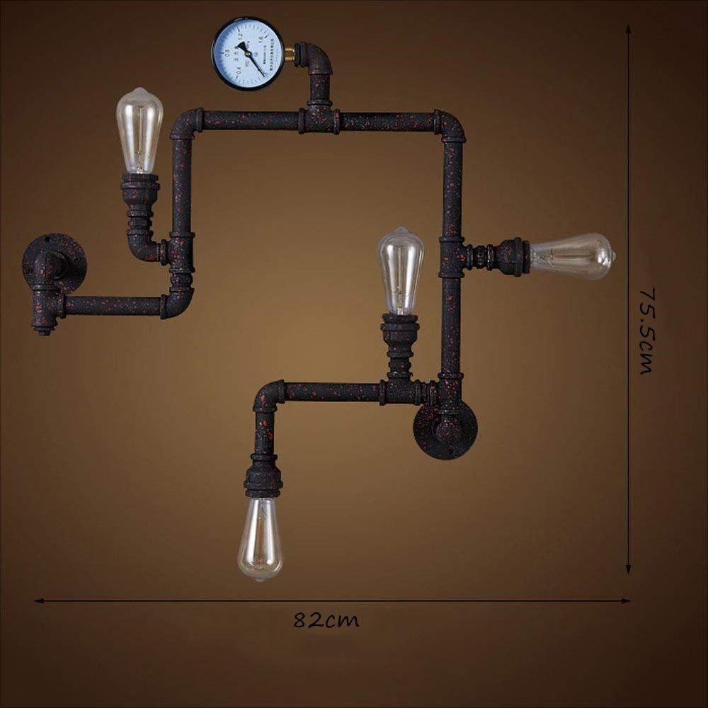 レトロ鉄の水パイプの壁のスポットライトバーン居間の研究ワインセラーカフェバーライティングウォールランプ B07FQNRYYM