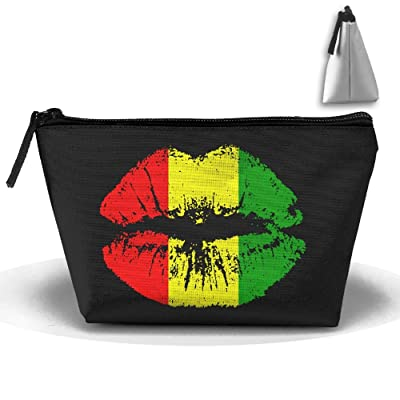 "Reggae Rasta Lips Trapezoid Travel Storage Pouch Oxford Cloth Makeup Bag Portable Handy Kit Packing Organizer 10""x4.9""x6.3"" 85%OFF"