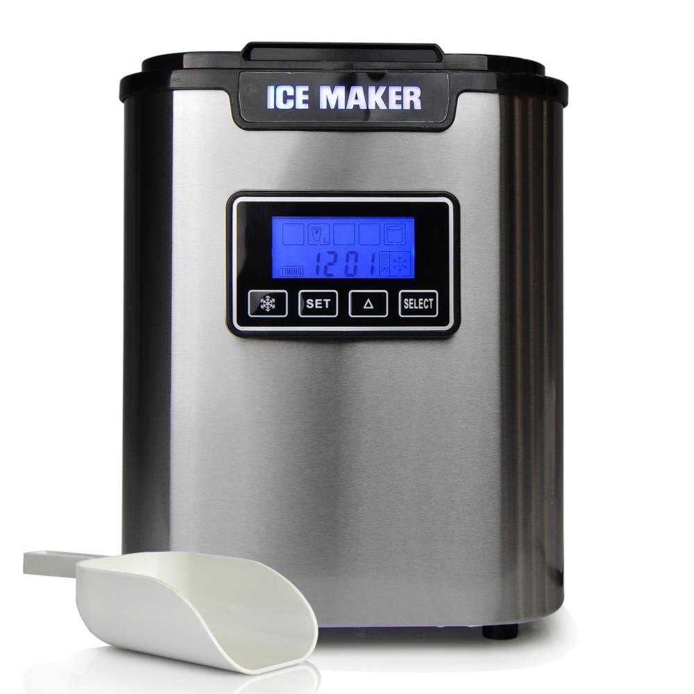 Upgraded NutriChef Portable Digital Ice Maker Machine | Stainless Steel Stain Resistant | Countertop Ice Maker W/ Built-In Freezer | Over-Sized Ice Bucket | Ice Machine W/ Easy-Touch Buttons - Silver by NutriChef (Image #2)