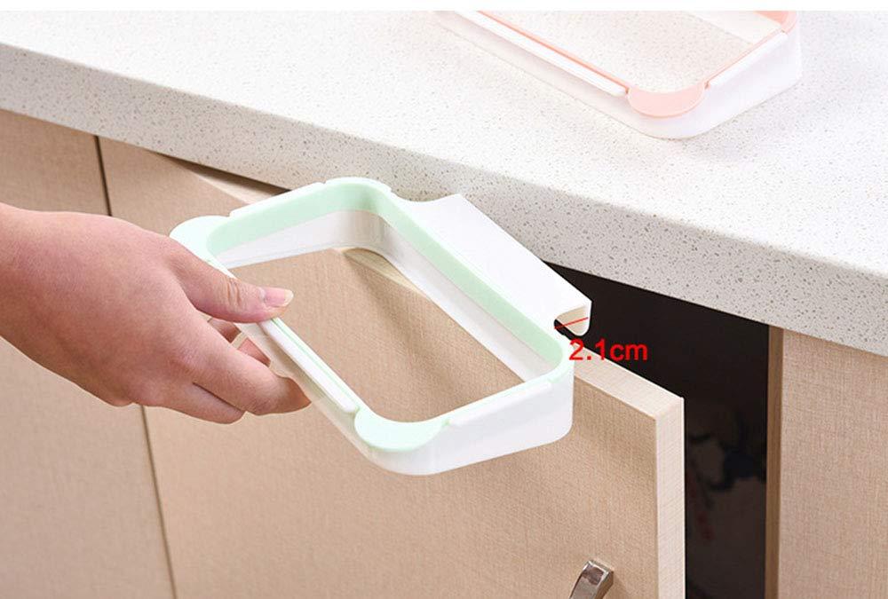 JUNSHUO Soporte para Bolsas de Basura para Colgar Basura on Armario de Cocina Ideal como Sustituto para el Cesto de Basura Azul