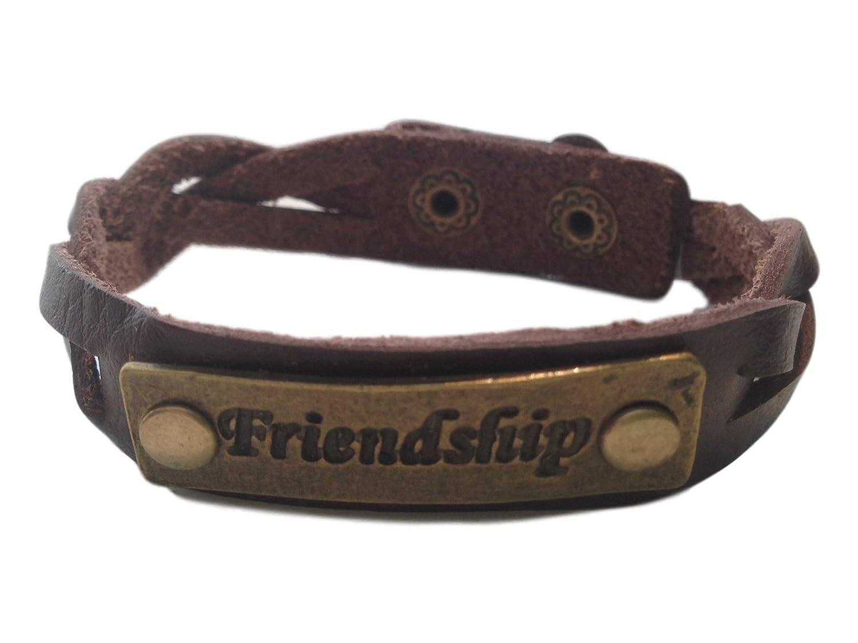 JB Vintage Charming Friendship Brown Leather Expression Snap Bracelet
