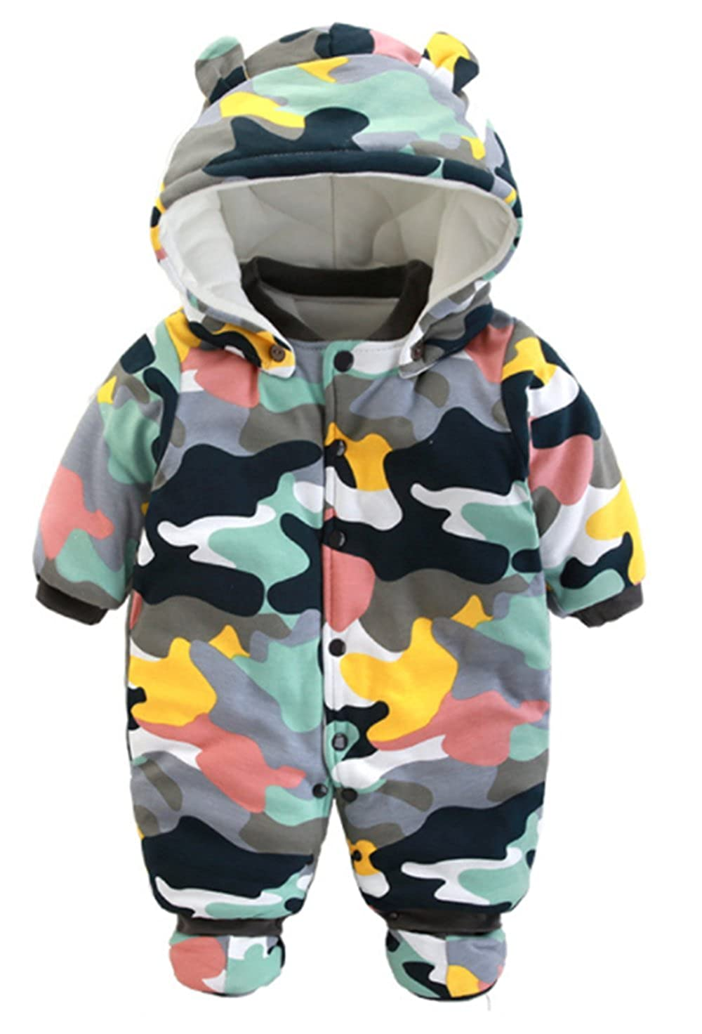 EGELEXY Baby Boys Girls Camouflage Cartoon Hooded Romper Winter Warm Thick Jumpsuit