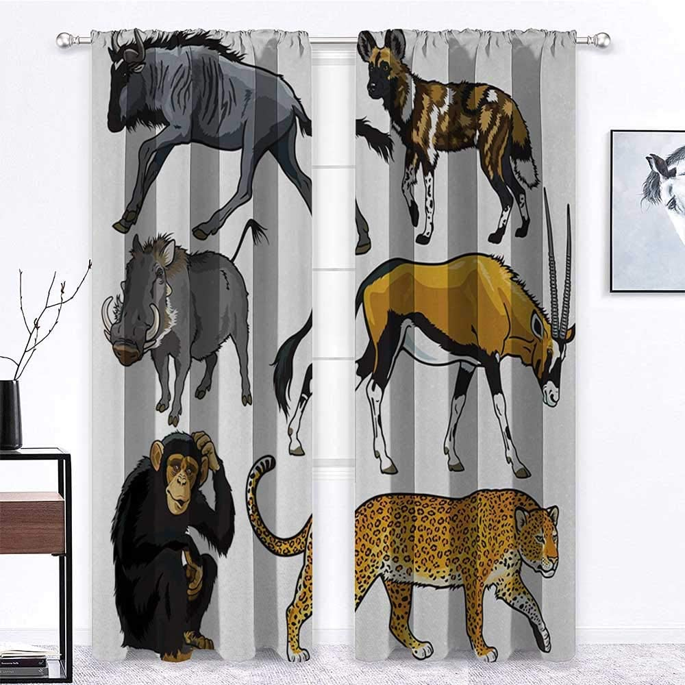 """Interestlee Curtains Blackout Zoo Thermal Prevent Noise Collection of Cartoon Style Wild Animals of Africa Fauna Habitat Savannah Wilderness 2 Panels 108"""" x 84"""" Multicolor"""