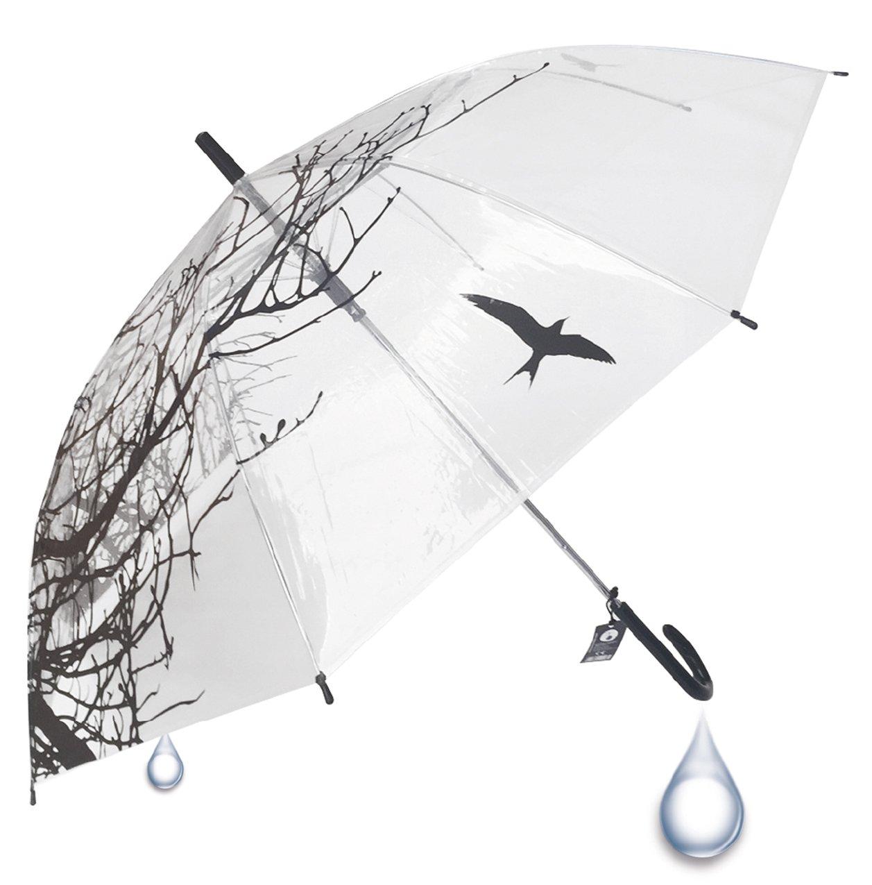 Paraguas transparente con estampado de ramas y pájaro. Buena calidad y varillas de acero.