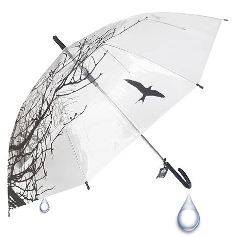 Paraguas Natura Transparente apertura automática - 100 cm de diámetro una vez abierto - Plástico de