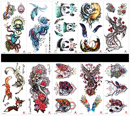 PAMO 10pcs tattoo panda Fake and real temp tattoo stickers that look real in a packages,including feather,angel,animal head,owl,rose,panda,phoenix,fox,dragon,etc. ()