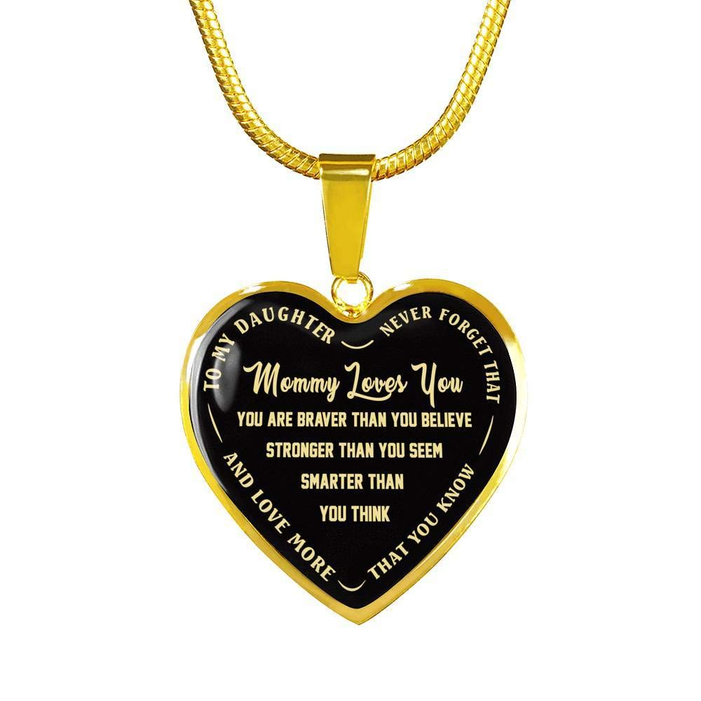 from Mom Mother and Child Love Jewelry Necklace Mommy Loves You Heart Pendant Includes Gift Box! Luxury Gift for Daughter