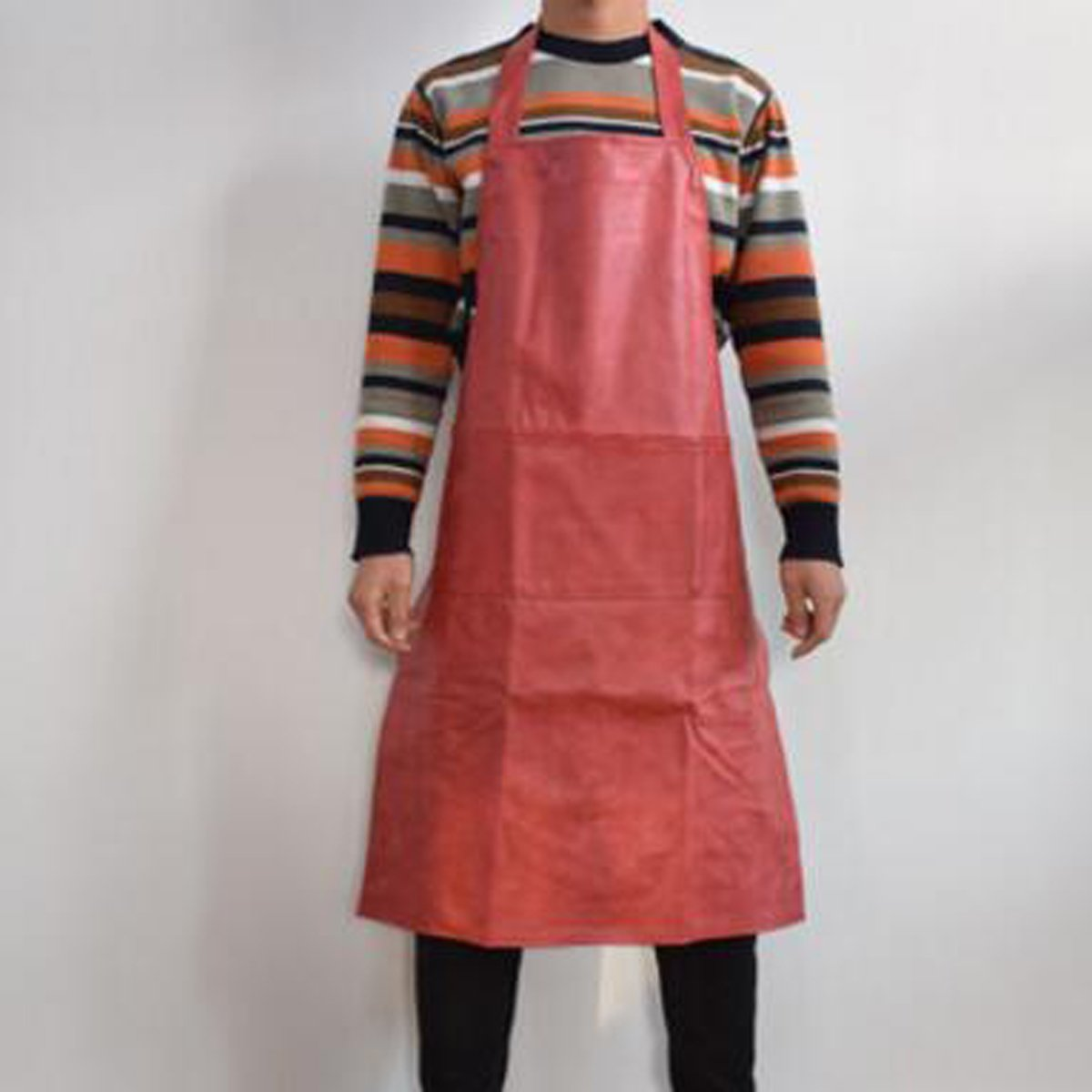 ZHIHUI Leather Apron Waterproof Anti-Oil Thicken Lengthen Apron Kitchen Barbecue Apron, 100*60Cm, Grey