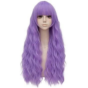Luz Púrpura Igual Flequillo Largo 28 Pulgadas Rizado Peluca Cosplay A Prueba De Calor Moda Lolita