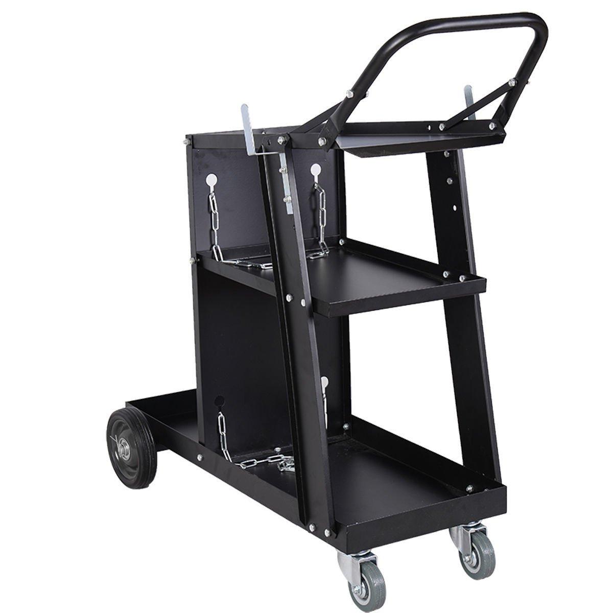 costway Universal carro para soldador Mig Tig Arc soldador con ruedas Plasma Cutters & Gas botellas para tanques de almacenamiento (negro): Amazon.es: ...