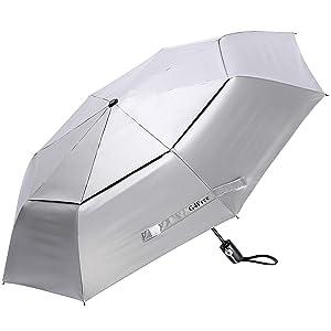 G4Free UPF 50+ UV Protection Travel Umbrella 42 46 inch Windproof Silver Coating Sun Blocking Umbrella