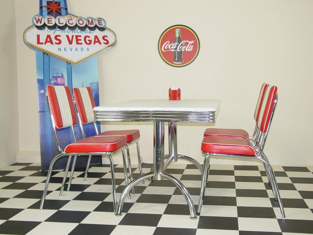 Just-Americana.com American 50s Diner Furniture Budget Retro Style Booth Table and 4 Red Chairs
